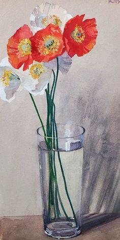 Heinrich Kley    Poppies in a Glass    1884