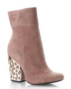 SCHUTZ Taupe Embellished Block Heel Booties