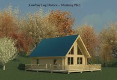 24x28 Dimensions: 24′ W x 28′ D Levels: 2 First Floor Square Footage: 672 Second Floor Square Footage: 324 TOTAL Square Footage: 996 Porches Square Footage: 624 Bedrooms: 1 + Open Loft Baths: 1 First Floor Laundry, Open Great Room  The Mustang log home plan is shown here in the 8 inch milled log log style with saddle notched corners. The roof system is 10 inch diameter timbers.
