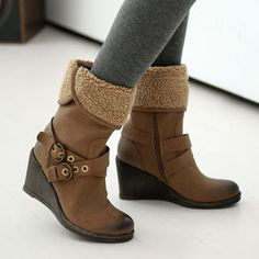 Buy '59 Seconds – Fleece-Trim Buckled Wedge Boots' at YesStyle.com plus more Hong Kong items and get Free International Shipping on qualifying orders.