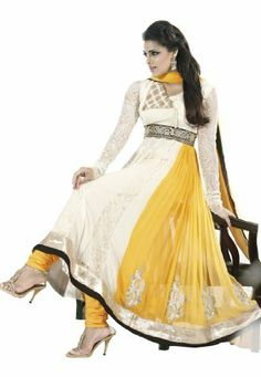 Fabdeal Women's Indian Designer Wear Embroidered Anarkali Suit White & Yellow Fabdeal