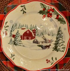 Christmas Table Setting Tablescape with Plaid Plates and a Natural Greenery Centerpiece Christmas China, Christmas Dishes, Plaid Christmas, Country Christmas, All Things Christmas, Christmas Home, Vintage Christmas, Christmas Holidays, Purple Christmas