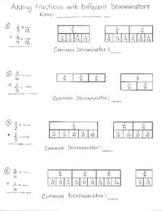 FREE Adding Fractions with Different Denominators Worksheet
