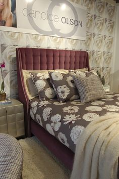 Another window display at Highland House Furniture- Gorgeous Envy tufted headboard by Candice Olson. #hpmkt #candiceolson #interiordesign #homedecor