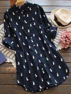 Only 58 buy m single breasted rabbit print tunic shirt deep blue at online long sleeve dresses shop sammydress com mobile Kurta Designs Women, Blouse Designs, Shirt Collar Pattern, Casual Dresses, Fashion Dresses, Dresses Dresses, Tunic Shirt, Shirt Dress, Western Dresses
