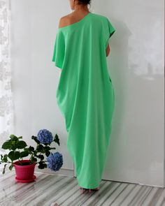 Green Spring Summer Maxi oversized plus by cherryblossomsdress