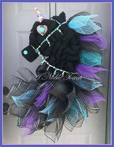 Black Unicorn Fantasy Wreath Horse Head Wreath Fairy tale   Beautiful Cases For Girls