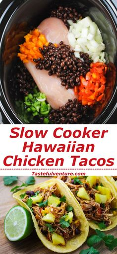 Slow Cooker Hawaiian Chicken Tacos - Tastefulventure - - These Slow Cooker Hawaiian Chicken Tacos are perfect to make in the summer when you don't want to turn the oven on. Just dump everything into the Slow Cooker and let it work its magic! Slow Cooked Meals, Crock Pot Slow Cooker, Slow Cooker Recipes, Crockpot Recipes, Chicken Recipes, Cooking Recipes, Healthy Recipes, Slow Cooking, Chicken Tacos Crock Pot