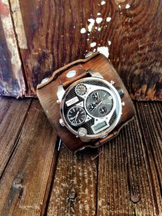 Men's Leather Cuff Watch Diesel Watch Face by shopSeventyOne, $428.00