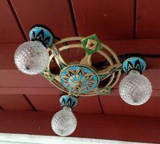 Antique Art Deco 20s Ceiling Lamp Fixture Chandelier flush mount 3 lights