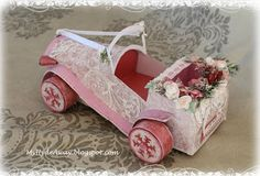 Shabby chic/vintage wedding card - with rubber band engine
