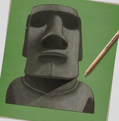 How to draw… Easter Island heads | Children's books | The Guardian Sharp Pencils, Draw Two, Deep Set Eyes, Book Sites, Easter Island, White Pencil, Head & Shoulders, Eye Shapes, Pencil Illustration