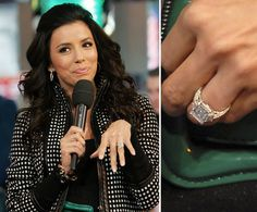Eva Longoria    NBA star Tony Parker proposed to Eva Longoria in December 2006 with a $150,000 four-carat emerald-cut ring with emerald side stones designed by Jean Dousset.