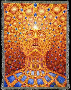Visionary Art by Alex Grey woven into beautifully detailed Art Blankets. Soft, cozy and conscious ~ 60% Recycled. Made in the USA! Perfect for yoga, meditation, festivals, Burning Man. No vision and y