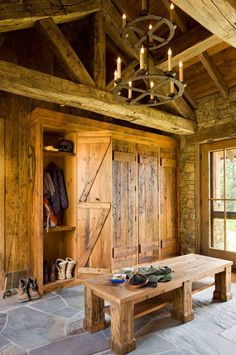 Great Point Lodge - rustic - entry - jackson - On Site Management, Inc. Another take on a mudroom Cabin Homes, Log Homes, Rustic Entry, Rustic Closet, Rustic Basement, Basement Ideas, Lodge Style, Cabin Interiors, Wood Interiors