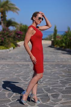 Summer holidays in Rhodes with asymmetric red dress <3 ...