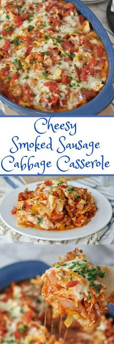 Cheesy Sausage and Cabbage Casserole   Peace Love and Low Carb via @PeaceLoveLoCarb