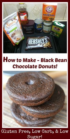 Insanely delicious chocolate cake donuts made with black beans! This recipe is super easy to make, and caters to gluten free, flour free, and low carb dieters. I've also made these into brownies, and they are just heavenly!