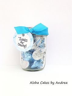 Baby Shower Favor, It's A Boy Mason Jar, Candy Jar, Thank You Gift, Blue and White, Turquoise Baby Shower, Set of 4 on Etsy, $16.00