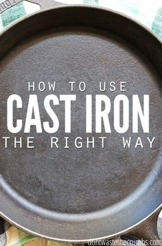 Step by step tutorial for seasoning, cooking and cleaning a cast iron skillet. Learning how to use a cast iron skillet the right way so that it becomes your favorite, go-to pan in the whole kitchen. Not only is cooking with cast iron healthier, but it saves money too! :: DontWastetheCrumbs.com Cooking With Cast Iron, Clean Cast Iron Skillet, How To Clean Skillet, Season Iron Skillet, Iron Skillet Cleaning, Iron Cleaning, How To Clean Iron, Cooking For Two, Cleaning Tips