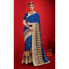 Designer Dark Blue & Golden Printed Raw Silk Saree -  RKRGSE8218 ( FH-RKRGSE8201 )