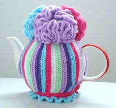 Striped and Flowered Tea Cozy - Custom orders available - provide size and colors desired to alittlepretty@gmail.com
