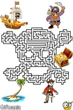 Get the treasure in this maze of pirates! #mazes #pirates #activitypages