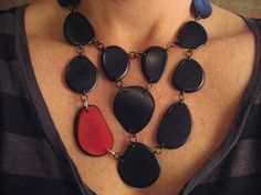 Black and Red Tagua Nut Necklace by veronicarileymartens