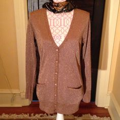 """J.Crew copper metallic cardigan NWT Copper metallic long sleeve cardigan. Semi-sheer and lightweight with 2 front pockets, 28"""" long and 19"""" arm inseam, Mach wash. J. Crew Sweaters Cardigans"""