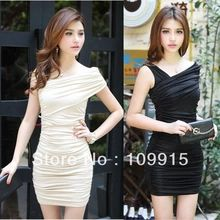 Fashion Glamor Girls' Noble Faxu Solid Colors Pinafore Cocktail Pleated Mini Dress Free Drop- Shipping(China (Mainland))