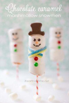 Chocolate caramel marshmallow snowmen o