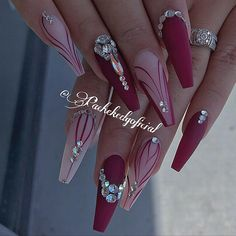 Top 82 Winter-Inspired Nail Art Designs For 2019 - nails - Nageldesign Fancy Nails, Bling Nails, Swag Nails, Stiletto Nails, Rhinestone Nails, Coffin Nails, Fabulous Nails, Gorgeous Nails, Pretty Nails