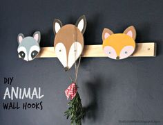 "That's My Letter: ""A"" is for Animal Wall Hooks, diy woodland animal wall hooks with free plans @knockoffwood"