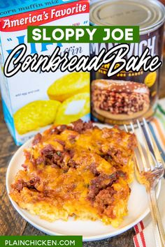 Sloppy Joe Cornbread Bake - comfort food at its best! Sweet cornbread crust topped with sloppy joe meat, and cheese. A weeknight favorite. Everyone always cleans their plate! Jiffy mix, creamed corn, eggs, milk, cheese, ground beef, and Manwich sloppy joe sauce. Super easy to make and tastes great! #cornbread #groundbeef #sloppyjoe #weeknightdinner Beef Dishes, Food Dishes, Main Dishes, Plain Chicken Recipe, Sloppy Joe Casserole, Sweet Cornbread, Cornbread Recipes, Ground Beef Recipes, Hamburger Recipes