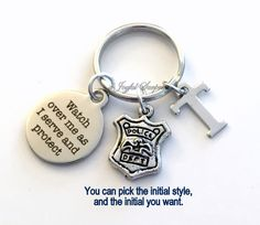 Police Officer Gift for Him or Her, Policeman Keychain, Policemen Key Chain Watch over me as I serve and protect Dept Emblem Initial Letter by aJoyfulSurprise on Etsy