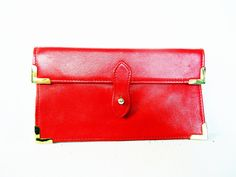 vintage 1990's gucci red leather bifold wallet