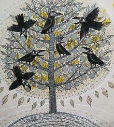 "Marina Novikova; Pen and Ink, Drawing ""Golden Apples"""