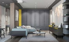 living room with gray pastel color