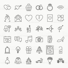 Wedding Line Icons Set. Vector Collection of Modern Thin Outline Save… Wedding Line Icons Set Lizenzfrei Royalty-Free Invitation Card Design, Invitation Cards, Outline, Wedding Icon, Wedding Set, Luxury Wedding, Wedding Dress, Doodle Wedding, Wedding Bible