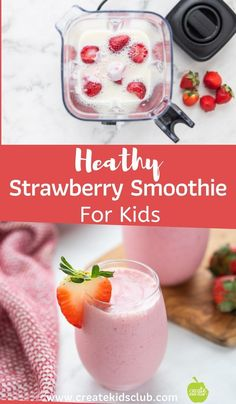 This healthy strawberry smoothie for kids is make with frozen strawberries, kefir, and milk. Add a touch of honey for extra sweetness. The quick meal idea is filling and delicious! Smoothies For Kids, Healthy Smoothies, Smoothie Diet, Smoothie Recipes, Shake Recipes, Drink Recipes, Healthy Recipes, Strawberry Smoothie Without Yogurt, Frozen Strawberries