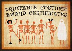 Printable Costume Award Certificates