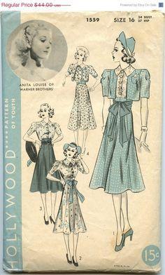 ON SALE 1930s Dress Pattern Hollywood 1559 by GreyDogVintage, $35.20