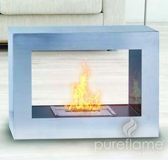 Pureflame Silver Window Flame - Free Standing Ethanol Fireplace