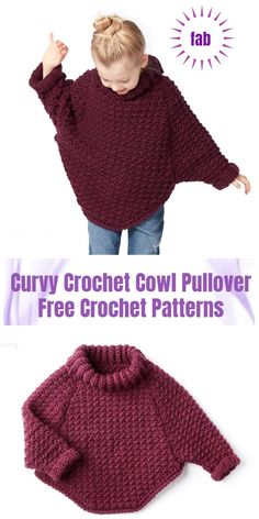 Do in blue with shark face for Huey? Crochet Curvy Crochet Cowl Pullover Sweater Kostenlose Häkelanleitungen - Video 3 square woman free knit sweater pattern - Woman Knitwear and Sweaters Poncho Crochet, Pull Crochet, Crochet Kids Hats, Crochet Girls, Crochet Clothes, Crochet Hair, Crochet Dresses, Diy Crochet Sweater, Crochet Children