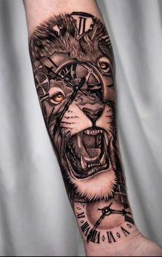Lion Tattoo Sleeves, Skull Sleeve Tattoos, Arm Tattoos For Men Half Sleeves, Best Sleeve Tattoos, Arm Tattoos For Guys, Tattoos Arm Mann, Forearm Band Tattoos, Lion Head Tattoos, Forarm Tattoos