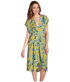 BCBGMAXAZRIA Thia Pleated Wrap Dress Golden Canary Combo - 6pm.com