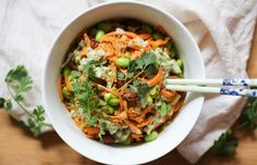 Green Curry Sweet Potato Noodle Bowls