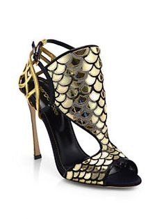 Sergio Rossi - Fortuny Scale Cutout Leather & Mesh Sandals
