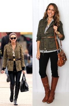 Cargo jacket or vest and striped top belted, black skinnies and cognac boots. Cute date night outfit. From J's Everyday Fashion Fall Winter Outfits, Autumn Winter Fashion, Fall Fashion, Summer Outfits, Night Outfits, Summer Clothes, Fashion News, Womens Fashion, Fashion Trends