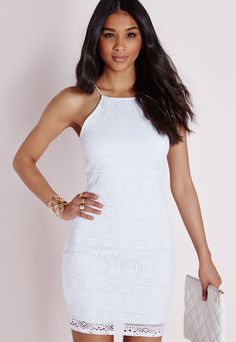 Missguided - Strappy Straight Neck Bodycon Dress White Lace